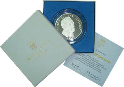 Изображение Подарочные монеты Панама Симон Боливар 1974 Серебро Proof Подарочная монета по