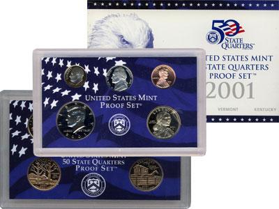 Изображение Подарочные наборы США Пруф-сет 2001 года 2001 Медно-никель Proof Подарочный набор пру