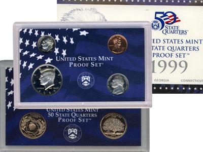Изображение Подарочные наборы США Пруф-сет 1999 года 1999 Медно-никель Proof Подарочный набор сос