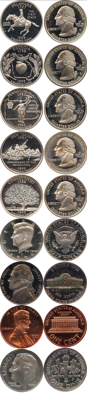 Картинка Подарочные наборы США Пруф-сет 1999 года Медно-никель 1999