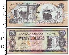 Изображение Боны Гайана 20 долларов 0  UNC- Герб. Водопад Кайету