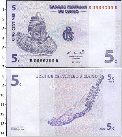 Картинка Банкноты Конго 5 сентим  1997