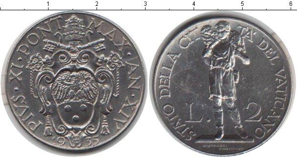 Картинка Монеты Ватикан 2 лиры Медно-никель 1935
