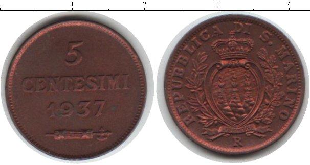 Картинка Монеты Сан-Марино 5 сентесим Медь 1937