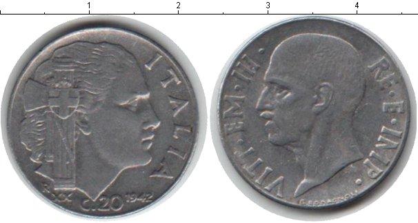 Картинка Монеты Италия 20 сентесим Медно-никель 1942