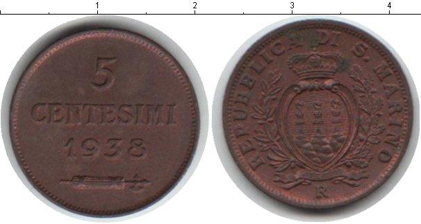 Картинка Монеты Сан-Марино 5 сентесим Биметалл 1938