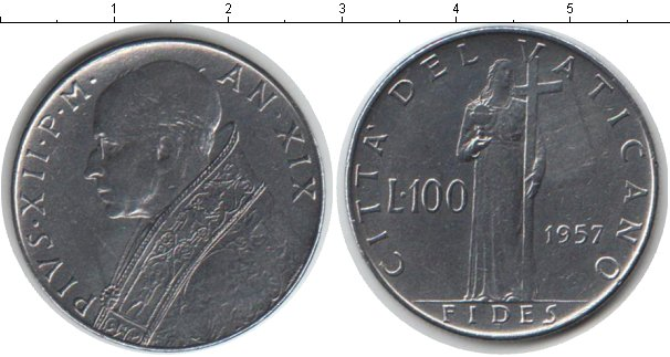 Картинка Монеты Ватикан 100 лир Медно-никель 1957