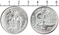 Изображение Монеты Сан-Марино 500 лир 1991 Серебро UNC