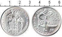 Изображение Монеты Сан-Марино 500 лир 1991 Серебро UNC Олимпиада-1992. Барс