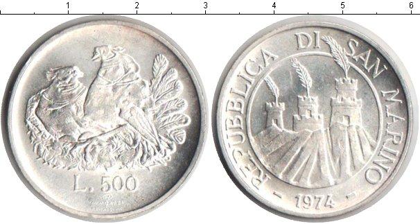 Картинка Монеты Сан-Марино 500 лир Серебро 1974