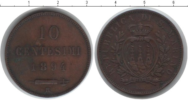 Картинка Монеты Сан-Марино 10 сентесим Медь 1894