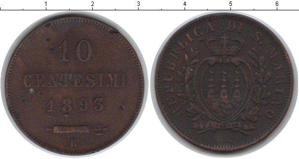 Картинка Монеты Сан-Марино 10 сентесим Медь 1893