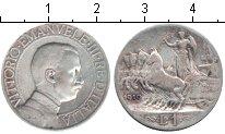 Изображение Монеты Италия 1 лира 1910 Серебро  Витторио Имануил III