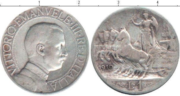 Картинка Монеты Италия 1 лира Серебро 1910