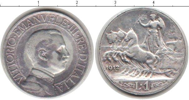 Картинка Монеты Италия 1 лира Серебро 1912