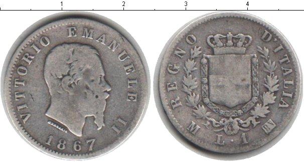 Картинка Монеты Италия 1 лира Серебро 1867