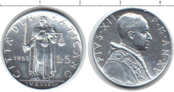 Картинка Монеты Ватикан 5 лир Алюминий 1953