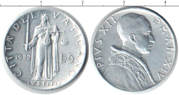 Картинка Монеты Ватикан 5 лир Алюминий 1952