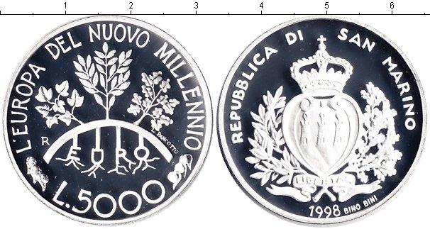 Картинка Монеты Сан-Марино 5.000 лир Серебро 1998