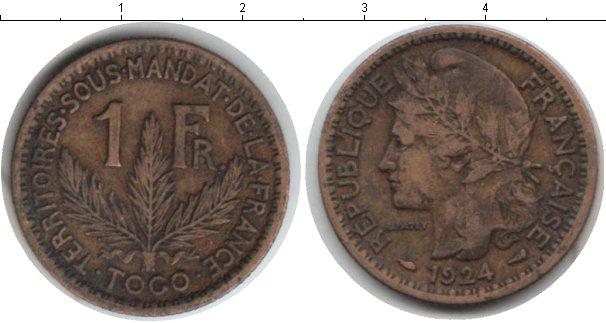 Картинка Монеты Того 1 франк Медь 1924