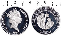 Изображение Монеты Соломоновы острова 10 долларов 1995 Серебро Proof- Королева-Мать.