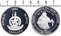 Изображение Монеты Вануату 50 вату 1994 Серебро Proof- Королева-Мать.