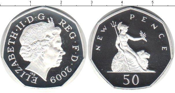Картинка Монеты Великобритания 50 пенсов Серебро 2009