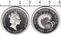 Изображение Монеты Великобритания 2 фунта 1995 Серебро Proof- 50-летие ООН.