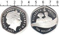 Изображение Монеты Каймановы острова 10 долларов 2007 Серебро Proof Елизавета и Филипп.