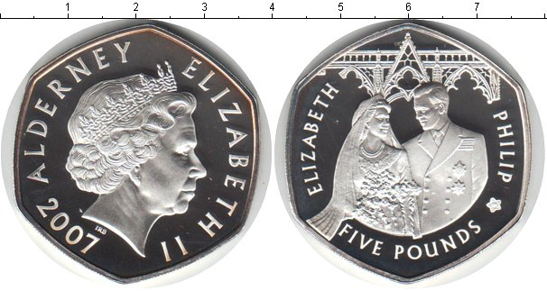 Картинка Монеты Олдерни 5 фунтов Серебро 2007