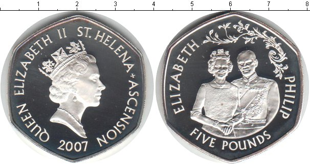 Картинка Монеты Остров Святой Елены 5 фунтов Серебро 2007