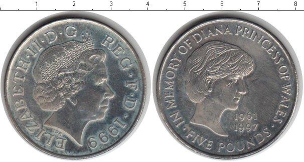 Картинка Монеты Великобритания 5 фунтов Медно-никель 1999