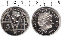 Изображение Монеты Великобритания 5 фунтов 2001 Медно-никель Proof 100 лет со дня смерт