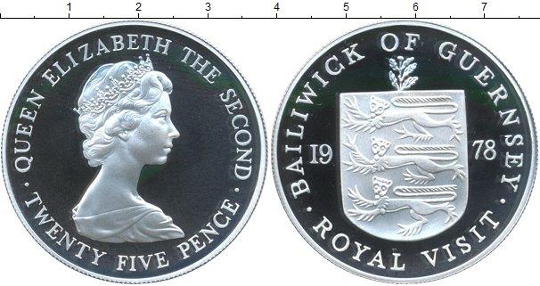 Картинка Монеты Гернси 25 пенсов Серебро 1978