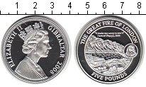 Изображение Монеты Гибралтар 5 фунтов 2008 Серебро Proof Большой пожар в Лонд