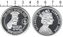 Изображение Монеты Гибралтар 5 фунтов 2008 Серебро Proof Первая мировая война
