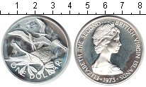 Изображение Монеты Виргинские острова 1 доллар 1973 Серебро Proof- Елизавета II. Птицы