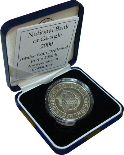 Изображение Подарочные монеты Грузия 10 лари 2000 Медно-никель Proof Подарочная монета по