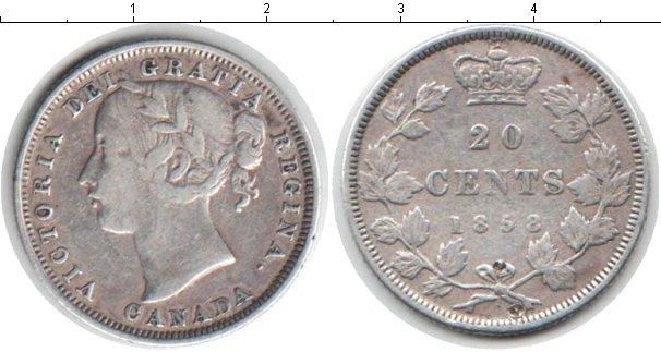 Картинка Монеты Канада 20 центов Серебро 1858