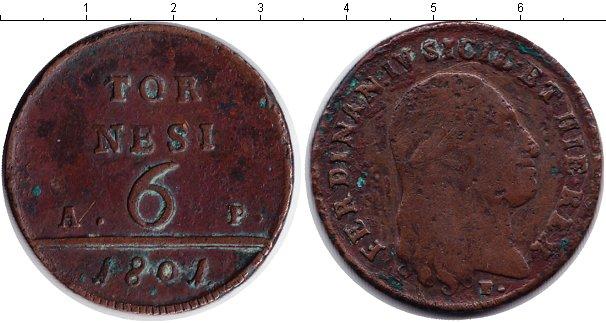 Картинка Монеты Сицилия 6 торнеси Медь 1801