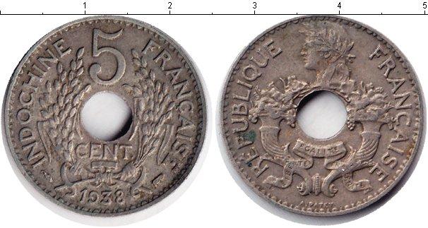 Картинка Монеты Индокитай 5 центов Медно-никель 1938