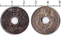 Изображение Монеты Индокитай 5 центов 1939 Медно-никель XF Французский протекто