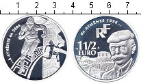 Изображение Монеты Франция 1 1/2 евро 2003 Серебро Proof Олимпиада 2004 в Афи