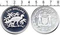 Изображение Монеты Белиз 10 долларов 1974 Серебро Proof- Птица.