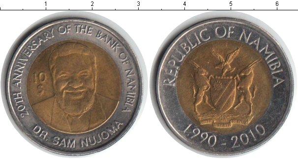 Картинка Мелочь Намибия 10 долларов Биметалл 2010