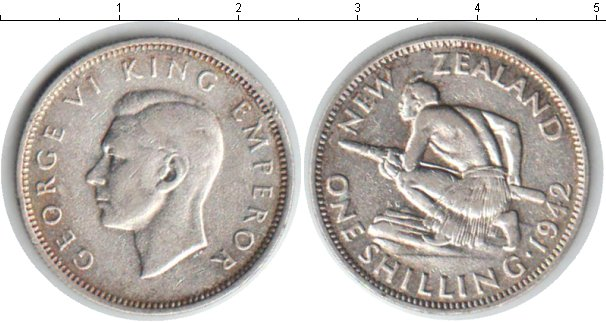 Картинка Монеты Новая Зеландия 1 шиллинг Серебро 1942