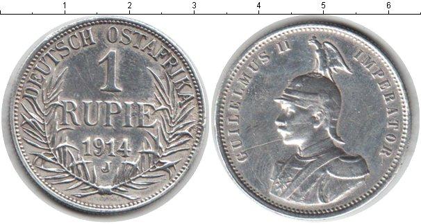 Картинка Монеты Немецкая Африка 1 рупия Серебро 1914