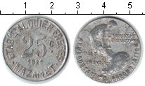 Изображение Монеты Франция 25 сантим 1922 Алюминий XF Жетон г.Мазаме