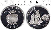 Изображение Монеты Мальта 5 лир 1994 Серебро Proof `Парусник ``Валлетта