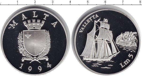 Картинка Монеты Мальта 5 лир Серебро 1994